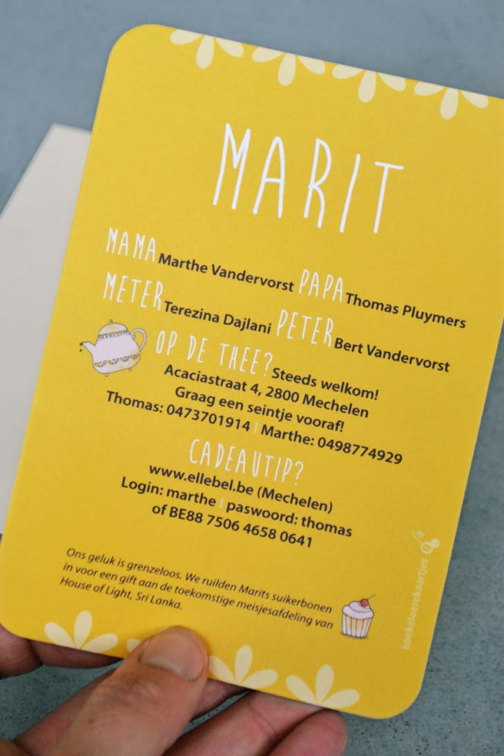 geboortekaartje Marit