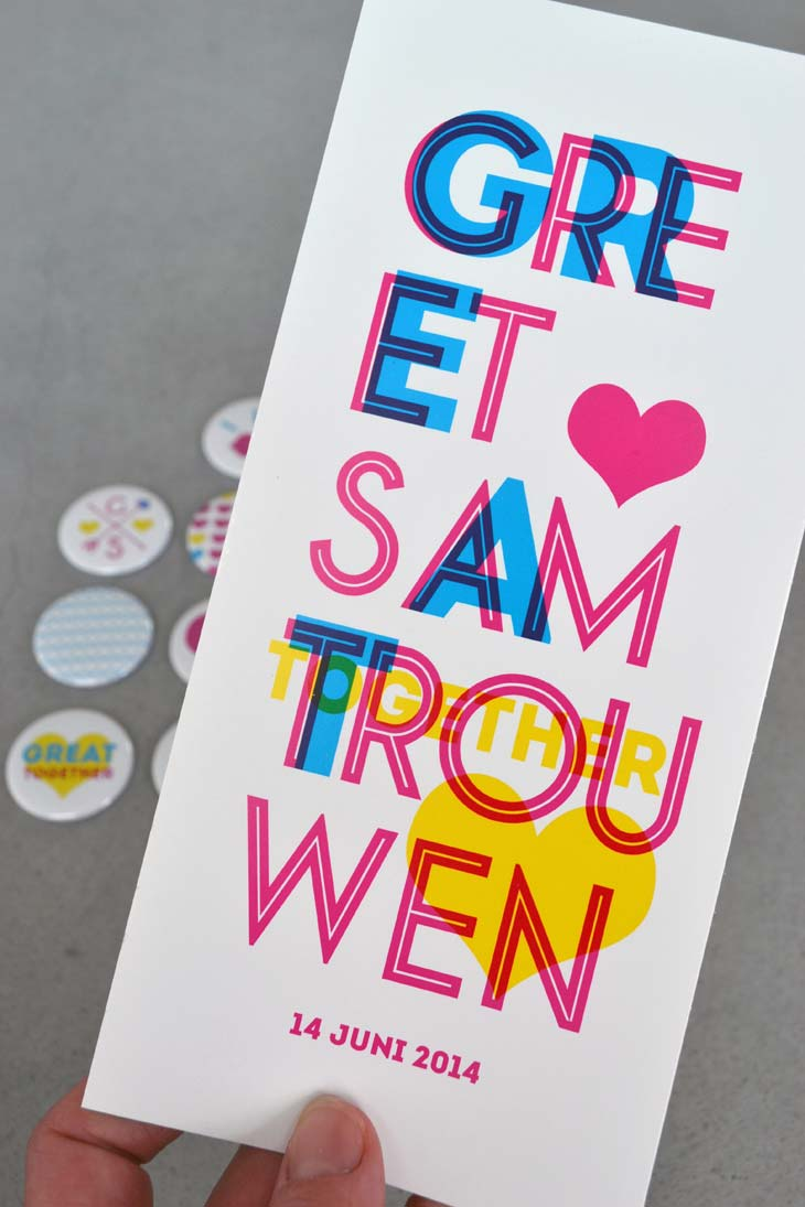 trouwuitnodiging Greet en Sam